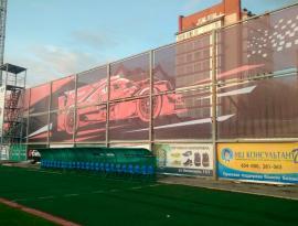 Монтаж на шнуровую растяжку, стадион Труд в Томске